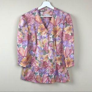 Vintage Floral Puff Sleeve Top